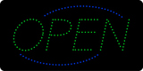 Open Deco Blue Border Green Letters LED Sign