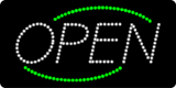 Open Deco Green Border White Letters LED Sign