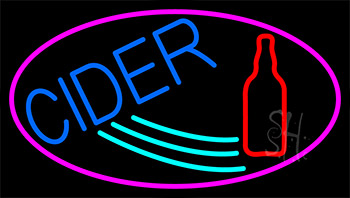 Blue Cider With Pink Neon Sign
