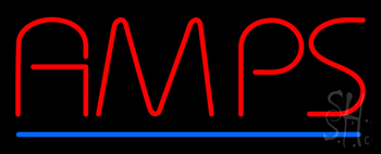Red Amps Blue Border Neon Sign