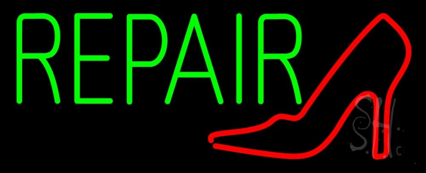 Red Sandal Logo Green Repair Neon Sign