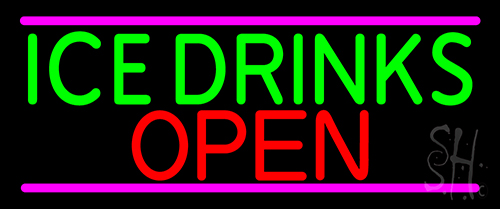 Ice Cold Drinks Open Neon Sign