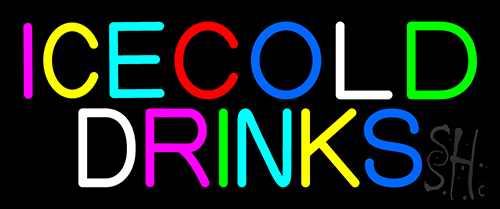 Multi Colored Ice Cold Drinks Neon Sign