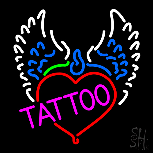 Piercing tattoo addiction logo neon sign tattoo neon for Neon tattoo signs