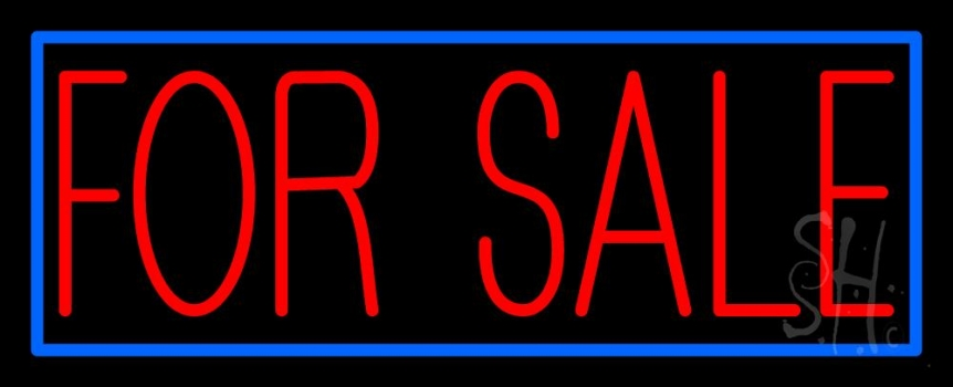 neon sale sign blue red signs border light estate real