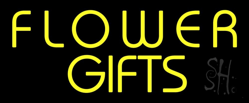 Yellow Flower Gifts In Block Neon Sign