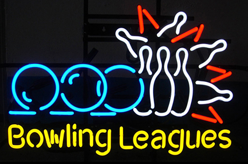 Bowling Leagues Logo Neon Sign