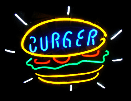 Burger Food Logo Neon Sign