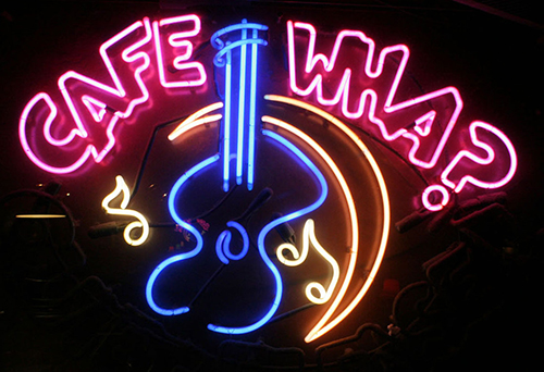 Cafe Wha With Guitar Logo Neon Sign