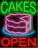 Cakes Open Neon Sign