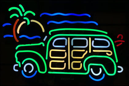Car Logo With Sunset Neon Sign