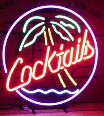 Cocktails Palm Tree Logo Neon Sign