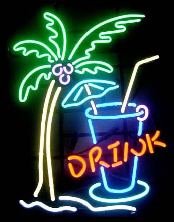 Drink With Palm Tree Logo Neon Sign