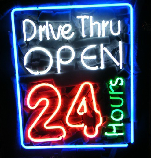 Drive Thru Open 24 Hours Noneon Sign