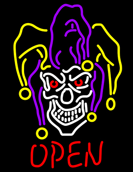 Evil Jester Open Neon Sign