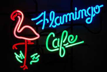 Flamingo Cafe Logo Neon Sign