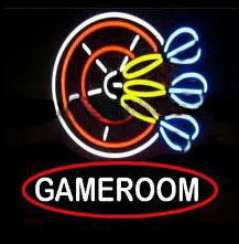 Gameroom Dart Logo Neon Sign