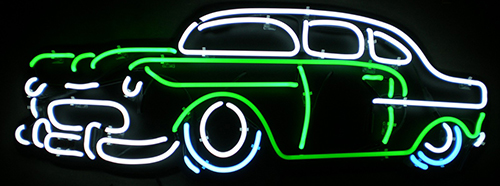 Green White Car Neon Sign