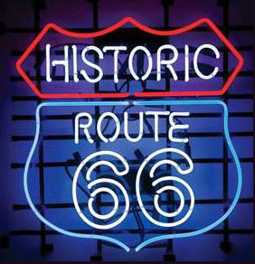 Historic Route 66 Logo Neon Sign
