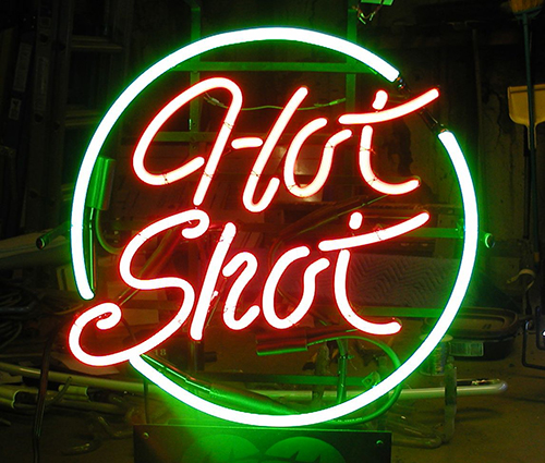 Hot Shot With Circle Neon Sign