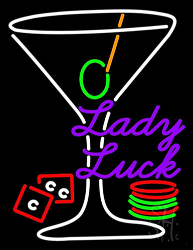 Luck Martini Glass Neon Sign