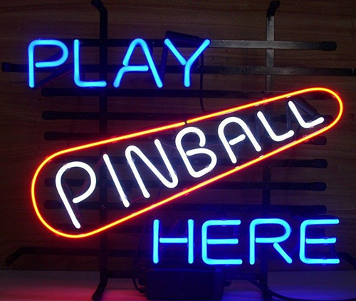 New Play Pinball Here Game Room Logo Neon Sign