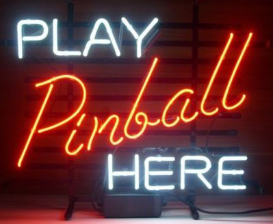 New Play Pinball Here Logo Neon Sign