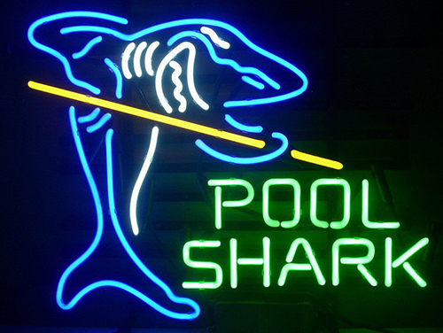 New Pool Shark Billiards Gameroom Logo Neon Sign