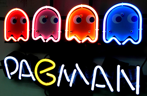 Pacman Game Logo Neon Sign