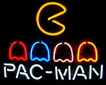 Pac Man Logo Neon Sign