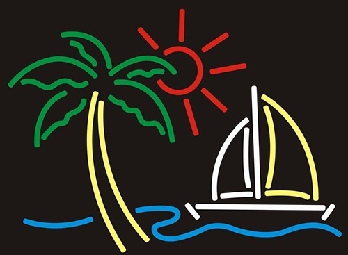 Palm Tree With Boat Neon Sign