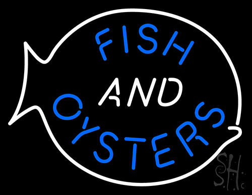 Fish oysters neon sign animals neon signs neon light for Fish neon sign