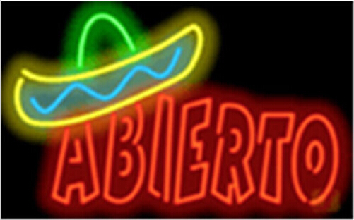 Abierto with Graphic Neon Sign