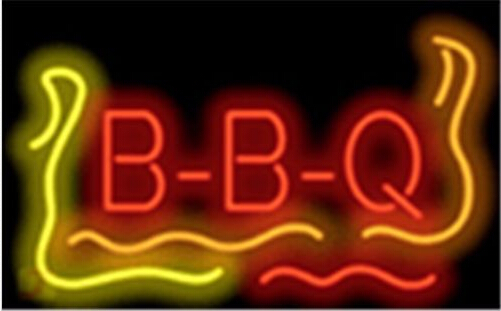 Bbq Flame Barbeque Restaurant Neon Sign