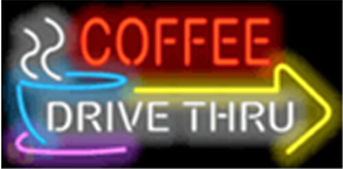 Coffee Drive Thru with Right Arrow Neon Sign