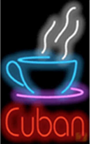Cuban with Coffee Cup Catering Neon Sign