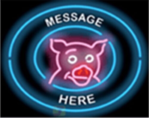 Custom Message Pig Here Barbeque Bbq Neon Sign