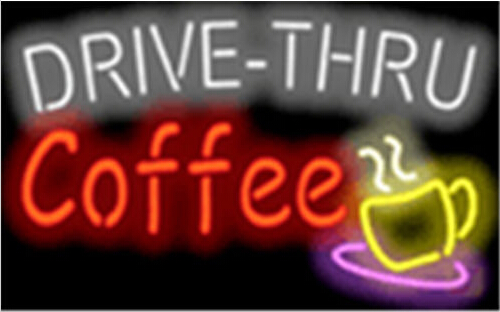 Drive Thru Coffee Cafe Neon Sign