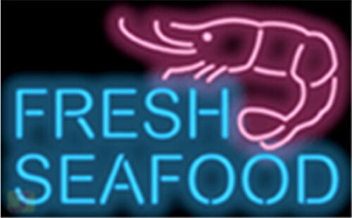 Fresh Seafood with Graphic Neon Sign