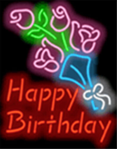 Happy Birthday with Flowers Party Neon Sign