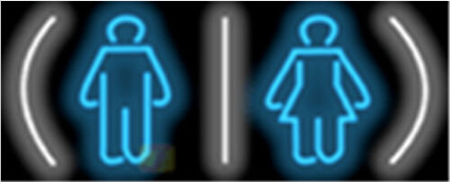 Male Female Restrooms Neon Sign
