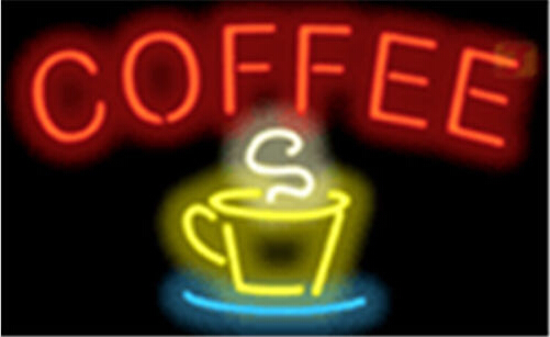 Coffee Red Letters W Yellow Cup Blue Saucer Neon Sign